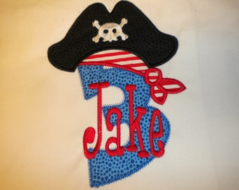 Pirate Hat Appliqued and Personalized Birthday Shirt - Short Sleeve