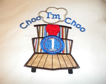 Choo Choo Appliqued and Personalized Birthday Shirt - Short Sleeve