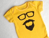 Yellow Hand Dyed Bearded Man Bodysuit 3 months