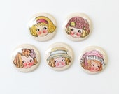 Paper Doll .... set of 5 magnets in gift tin