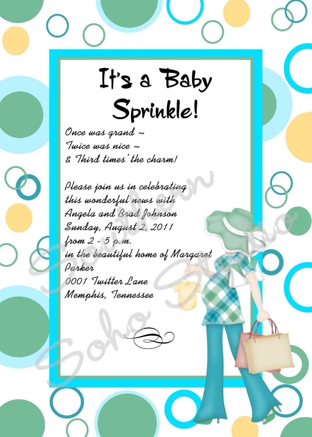 modern mom green and turquoise baby shower invitations