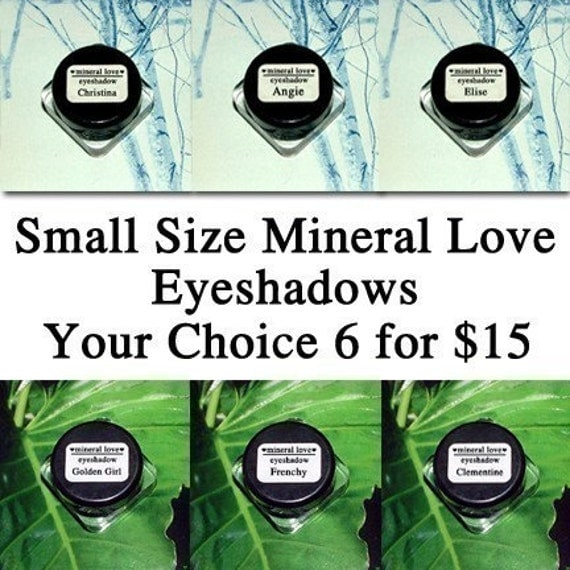 Six Small Size Vegan Eyeshadows Your Choice of Colors