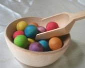 Natural Wood Toy - Montessori Sensory Game  - Wooden Rainbow Balls, Scoop and 2 Bowls Set for Transferring with Tin Storage Box