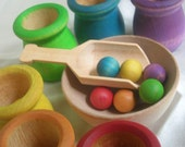 Montessori Toy Rainbow Matching and Sorting Game in a Tin Box -  Wooden Ball, Scoop and Cups Play Set for Boys and Girls