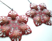 Tango Red Vintage Cut Out Filigree Flower Earrings