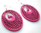 Pink Wood Peacock Earrings Women's Animal Jewelry