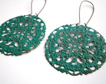 Teal Green Filigree Hand Painted Earrings Women's Fashion Jewelry