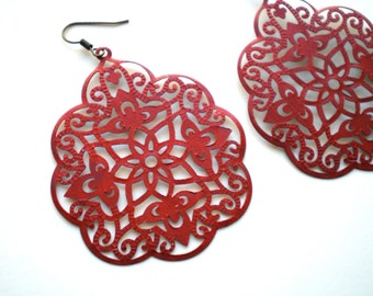 Red Hand Painted Lace Filigree Earrings