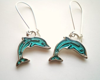 Silver and Aqua Dolphin Earrings Women's Animal Jewelry