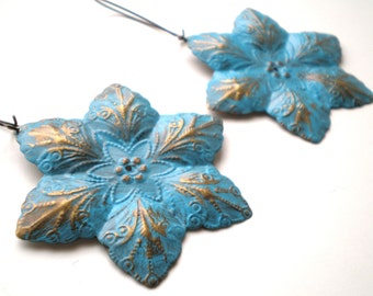 Caribbean Blue Hand Painted Filigree Flower Earrings Women's Fashion Jewelry