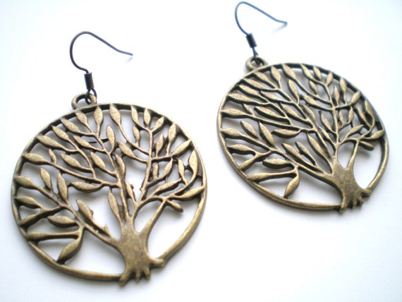 Black Friday Etsy Sale - Brass Tree of Life Earrings - Cyber Monday Etsy Free Shipping