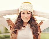 Bomber Ear Flap Hat, lumberjack hat, pilot hat, womens hat, yellow, white, beanie, teen, adult, spring, winter