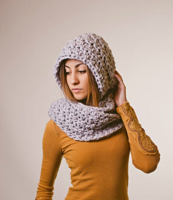 Gray hooded scarf, chunky scarf, gray scarf, pewter, winter, fall, spring, scoodie, mothers day