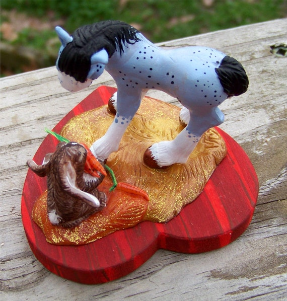 OOAK Sculpture Shylo and Buttons, miniature Horse and baby bunny ADOPTED/SOLD
