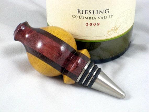 Wine Bottle Stopper Oil Vinegar Bottle or Cruet Stopper Laminated Woods Stainless Steel Barware