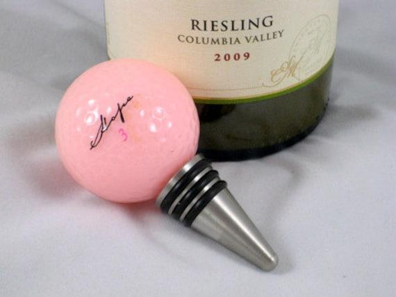 Golf Ball Wine Bottle Stopper Pink Hope Ribbon Ball Stainless Steel Barware