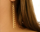 HELENA (earrings. gold. elegant. minimal. curb chain. link. dangle. long. everyday wear. simple. metal. handmade jewelry.)