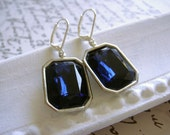 SOMETHING BLUE (earrings. estate style. vintage. bridesmaid. gem. dark blue. sapphire. navy. glamour. sparkle. wedding.)