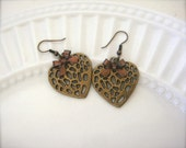WILD HEARTS (earrings. animal print. bow. brass. copper. mixed metal. cheetah. leopard. love. romance. handmade jewelry.)
