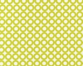 Organic Cotton Fabric Modern Whimsy Lime Circles by Laurie Wisbrun for Robert Kaufman - 1 YD - FabricFascination