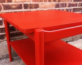 Mid Century End Table In Poppy Paprika