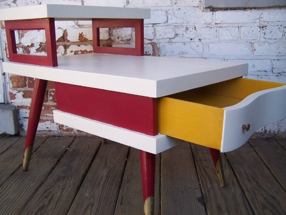 Mayo, Mustard, & Ketchup - Mid Century Red and White End Table