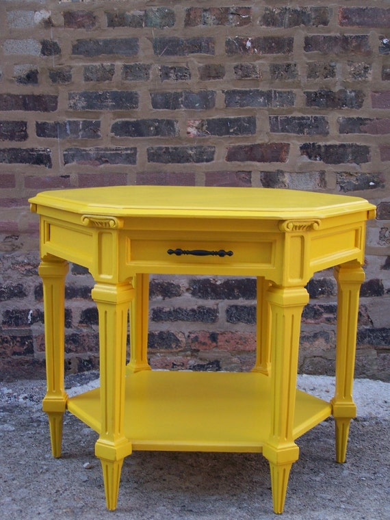 Sunflower Yellow Octagonal Side Table