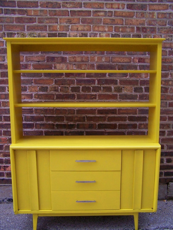 Mid Century China Cabinet In Mustard Yellow