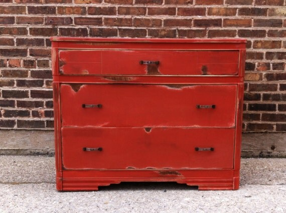 Vintage Art Deco Dresser In Spicy Paprika
