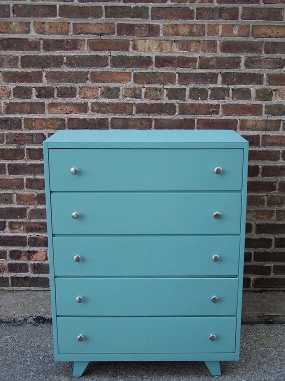 Mid Century Highboy Dresser In Smokey Blue