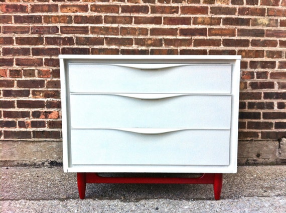 Mid Century Dresser In White Linen and Radiant Red - Payment 2 of 2 (reserved for David)