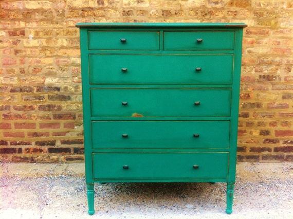 Vintage Dresser In Emerald Green