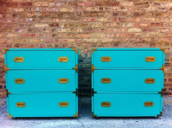 Pair Of Vintage Campaign Dressers In Turquoise