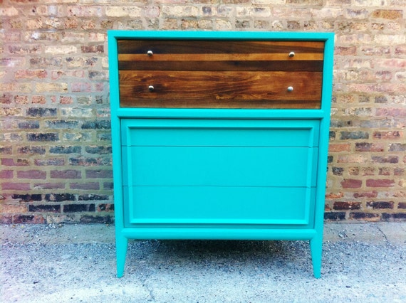 Rustic Mid Century Dresser In Turquoise (48 hr reserve DO NOT PURCHASE)