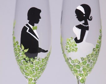 Hand painted Wedding Toasting Flutes Set of 2 Personalized Champagne glasses Groom and Bride Loving green