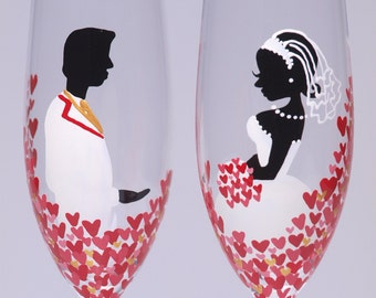 Hand painted Wedding Toasting Flutes Set of 2 Personalized Champagne glasses Love is everywhere