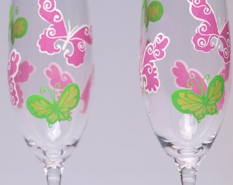 Sale Hand painted Wedding Toasting Flutes, Personalized Champagne glasses Green and Purple Butterflies