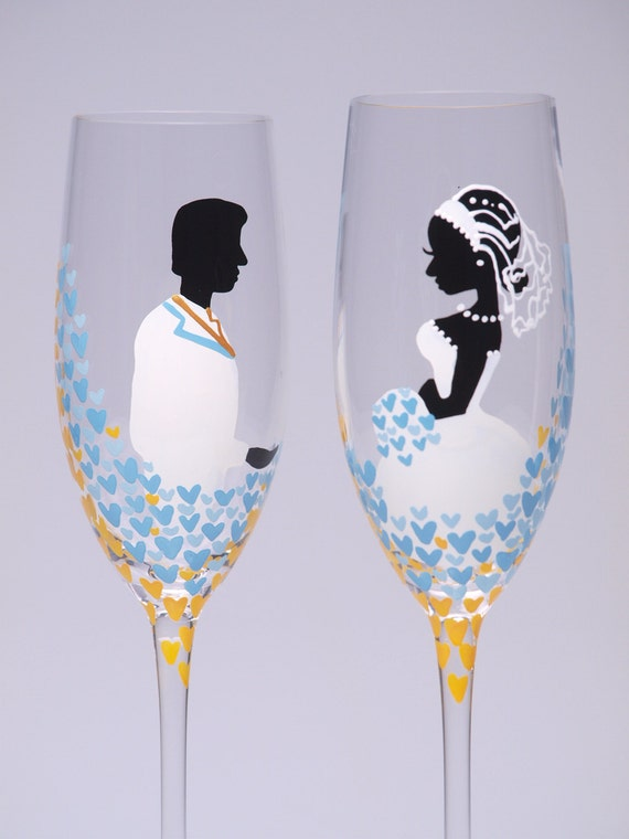 Hand painted Wedding Toasting Flutes Set of 2 Personalized Champagne glasses Love in Blue Sky
