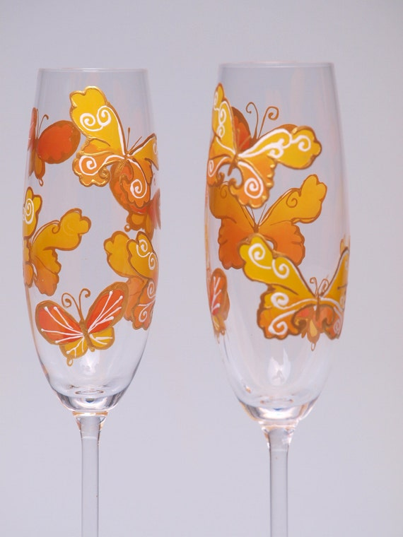 Hand painted Wedding Toasting Flutes Set of 2 Personalized Champagne glasses orange and yellow Butterflies