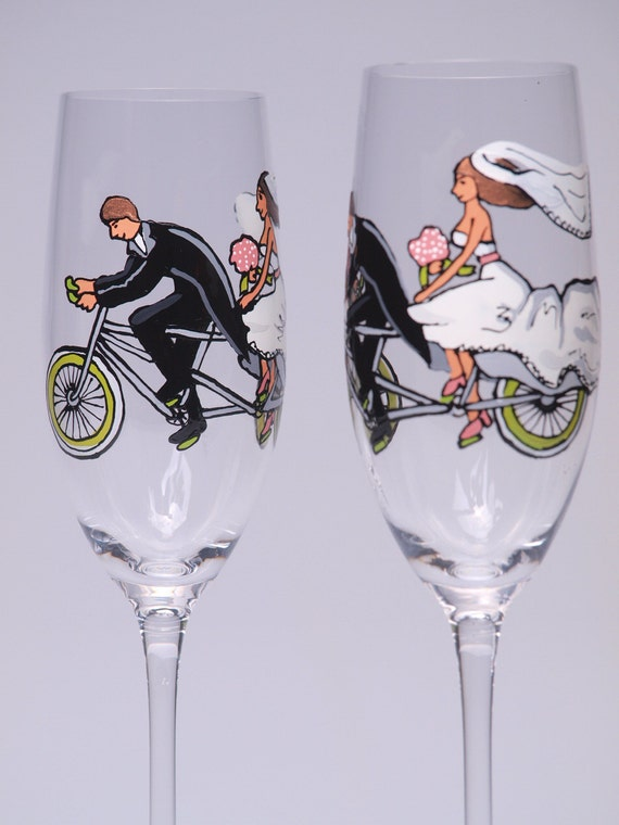Hand painted Decoration Wedding Toasting Flutes Set of 2