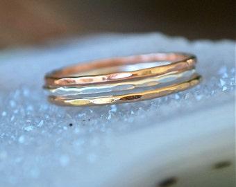 Stack Rings in Rose gold, silver, gold -- Skinny Stacks 12 rings