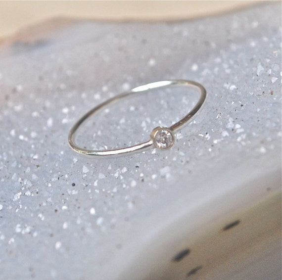 Diamond Ring Gold and Silver Stacking