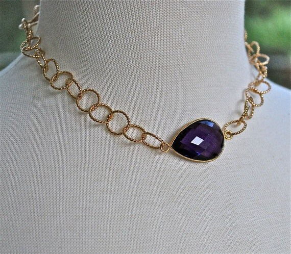 Purple Amethyst Bezeled Gold Filled Necklace February Birthstone Reserved for Chi