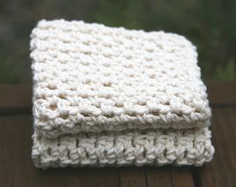 3 Crochet Soft Cotton Dish Wash Cloth White  CHA10 Kitchen Bath Face