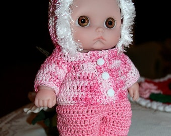 PDF PATTERN Crochet 8.5 inch Lil Cutesies Berenguer Doll Hooded Jacket Set