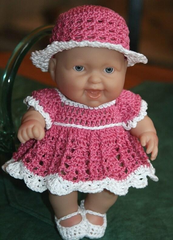 Crochet Pattern Doll Dress : PATTERN Crochet 8 inch Berenguer Baby Doll Dress by ...