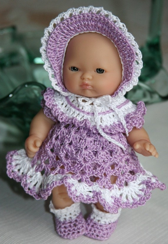 PDF PATTERN Crochet 5 inch Berenguer Baby Doll Dress Lilac