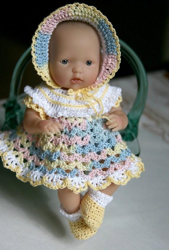 PDF PATTERN Crochet 7.5 8  inch Baby Doll Ruffled Yoke Dress Set