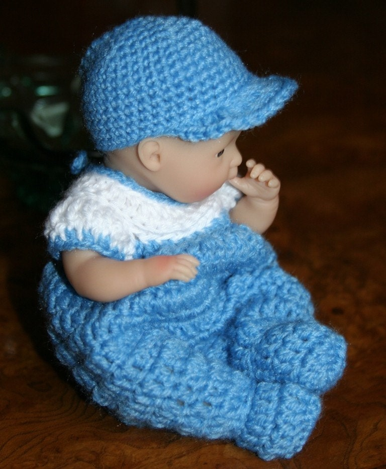Pdf Pattern Crochet 7 5 8 Inch Baby Doll Sleeper Romper Boy Or