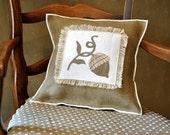 Acorn  Burlap Pillow Cover